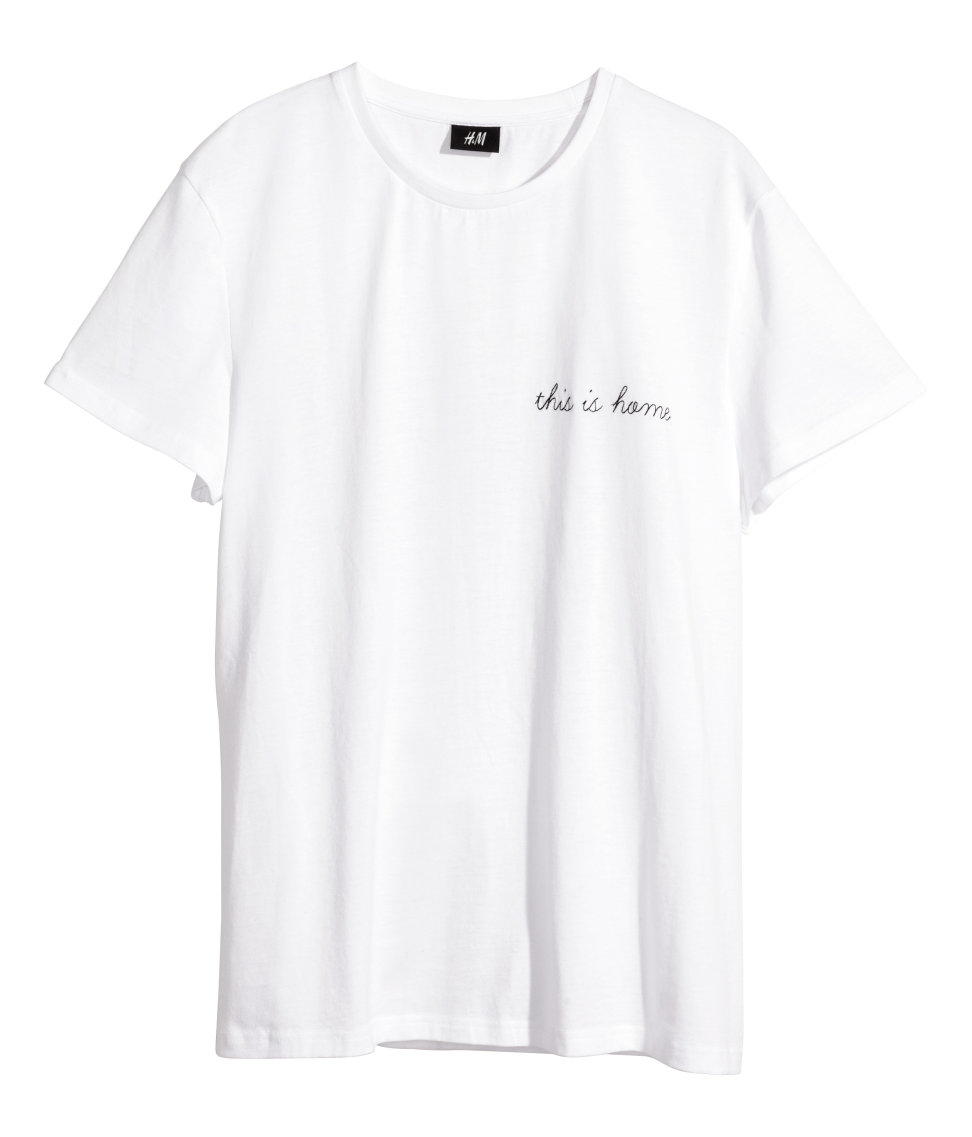 Lyst Hm T Shirt With Embroidered Text In White For Men