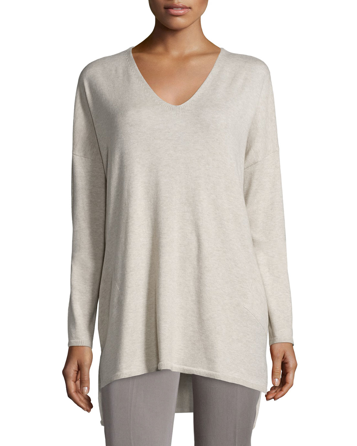 8924e2f0647 Eileen Fisher V-neck Organic Cotton Tunic With Pockets in Natural - Lyst