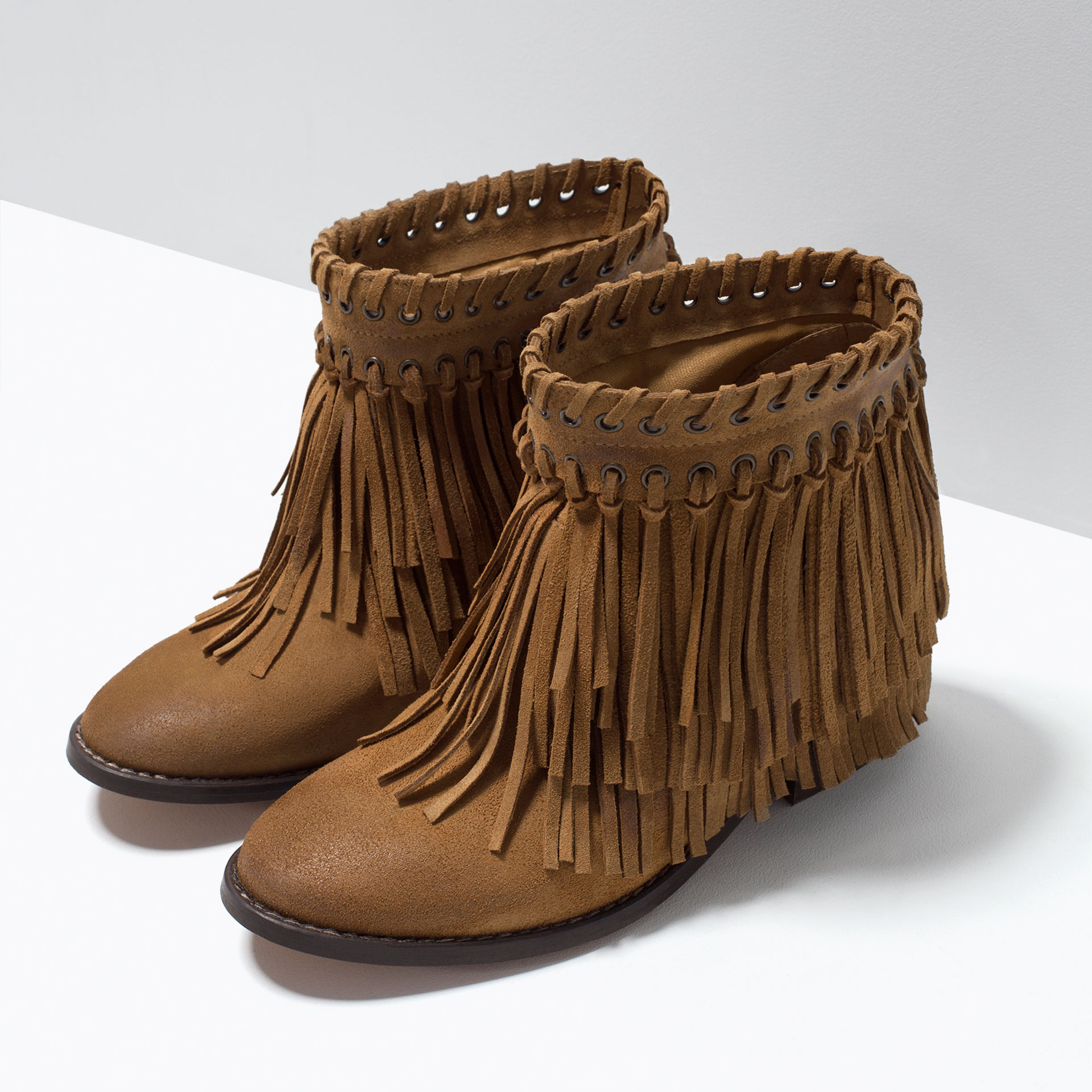 Zara Suede Fringed Ankle Boots in Brown | Lyst