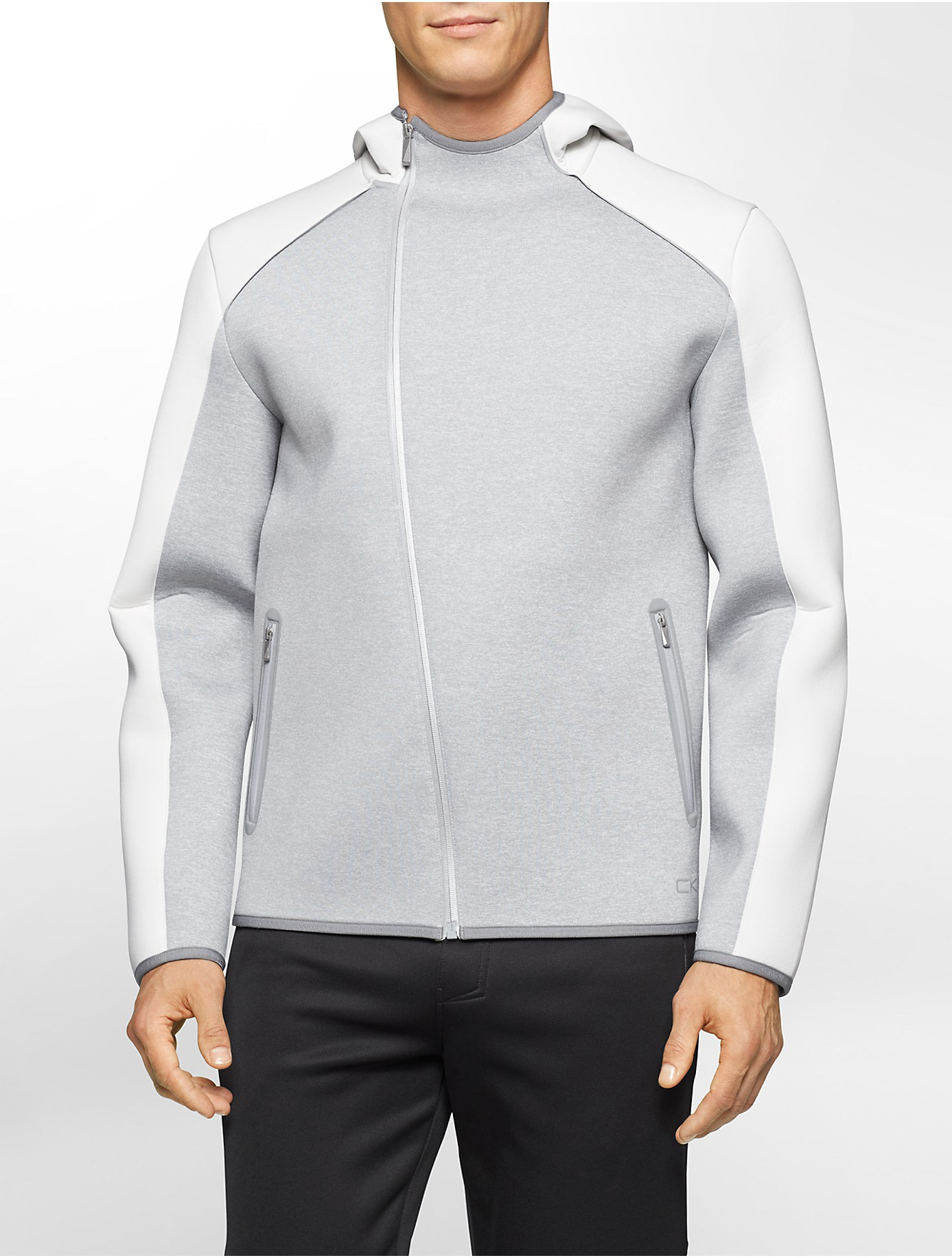 calvin klein performance colorblock asymmetrical zip hoodie in gray for men lyst. Black Bedroom Furniture Sets. Home Design Ideas