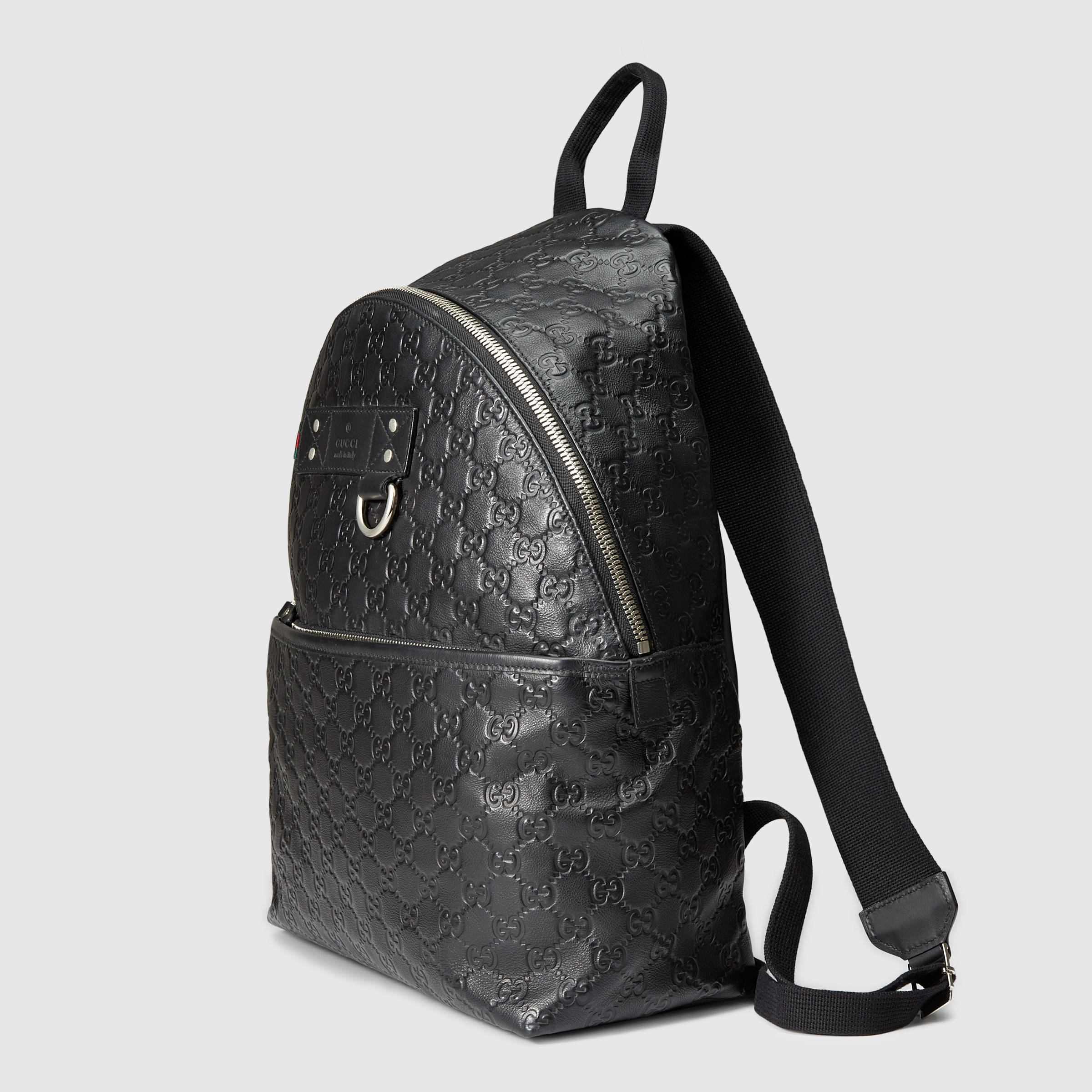 Gucci Rubber Ssima Leather Backpack in Black for Men ...