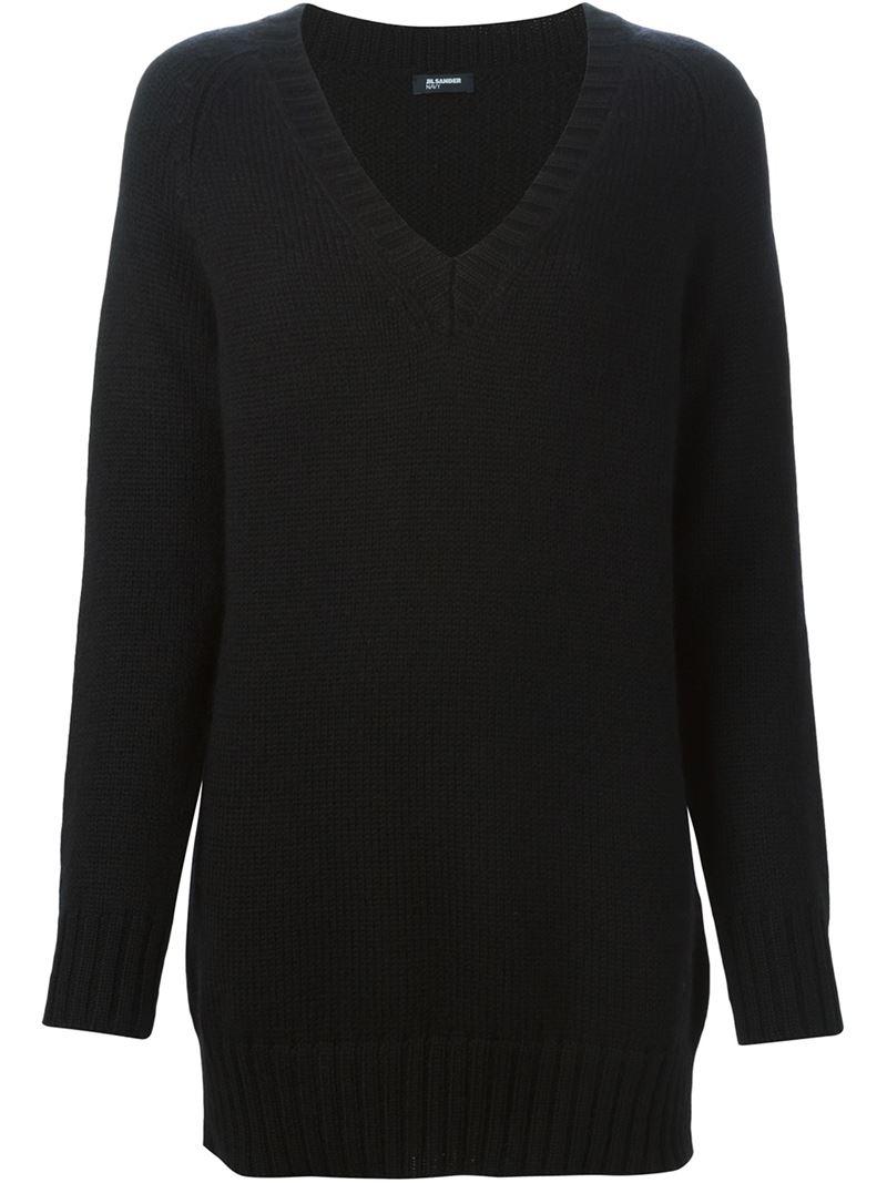 Jil sander navy Oversized V-neck Sweater in Black | Lyst