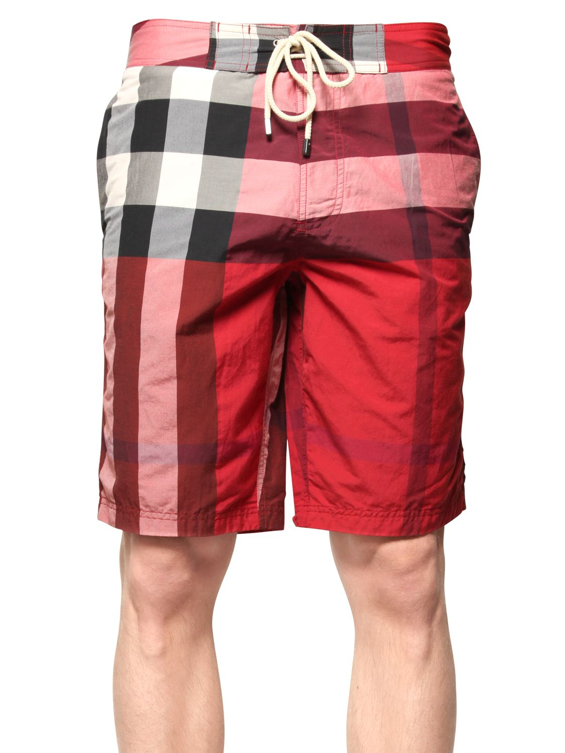 7787b2fd9a119 Burberry Brit Macro Check Cotton Blend Swimming Shorts in Red for ...