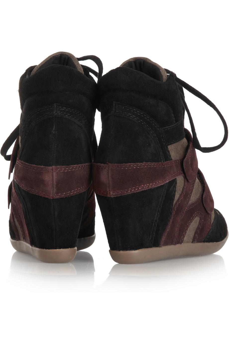 Ash Bea Suede Wedge High-Top Sneakers in Plum (Purple)