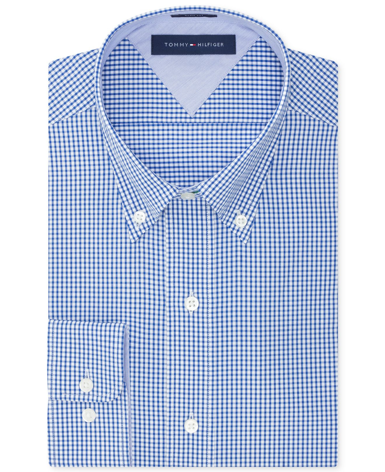 Tommy Hilfiger Easy Care Slim Fit Navy Gingham Dress Shirt