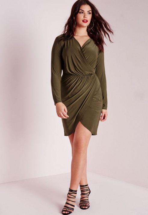 Missguided Plus Size Slinky Wrap Dress Khaki In Green Lyst