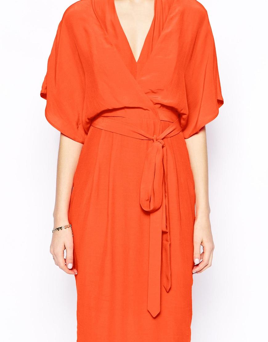 Asos Pencil Dress With Kimono Wrap In Orange Lyst