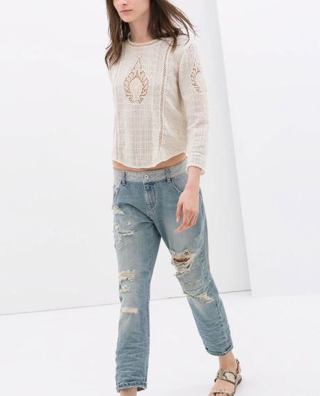 Zara Ripped Boyfriend Jeans in Blue (Light blue)  Lyst