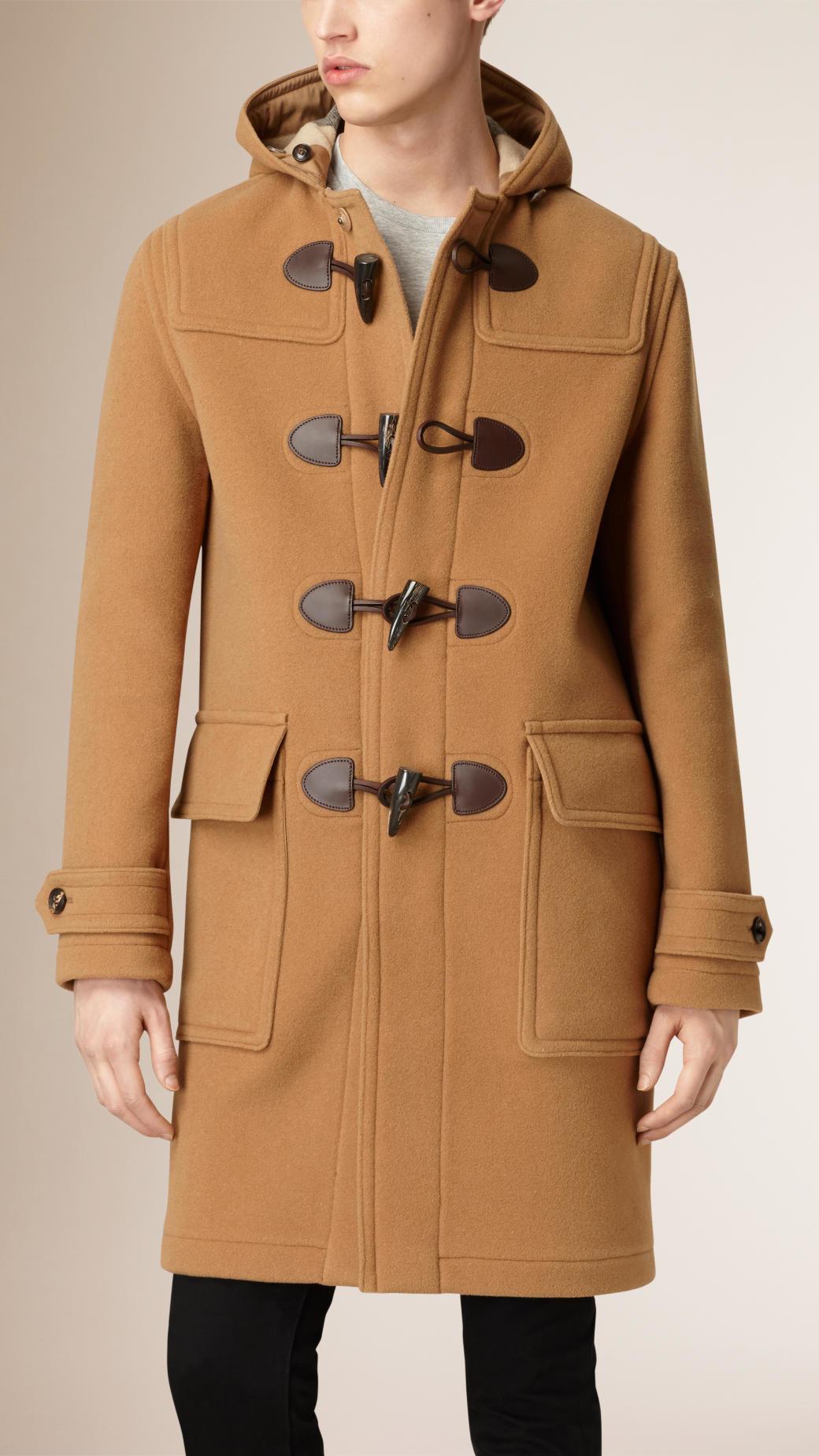 burberry wool blend duffle coat camel in beige for men. Black Bedroom Furniture Sets. Home Design Ideas