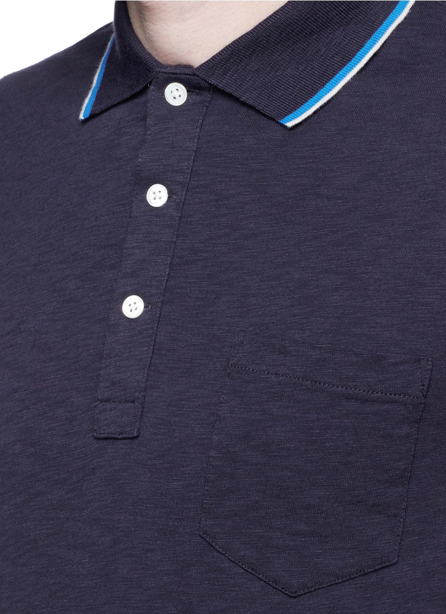 J.Crew Slim Tipped Polo Shirt in Blue for Men