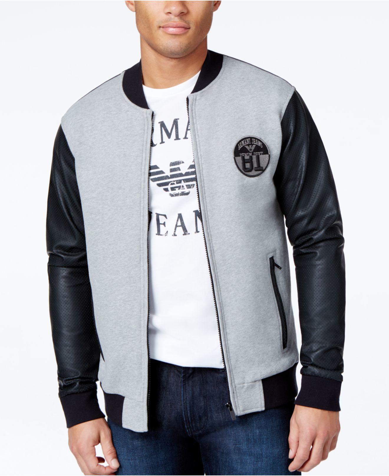 77852542 Armani Jeans Black Colorblock Baseball Fleece Jacket for men
