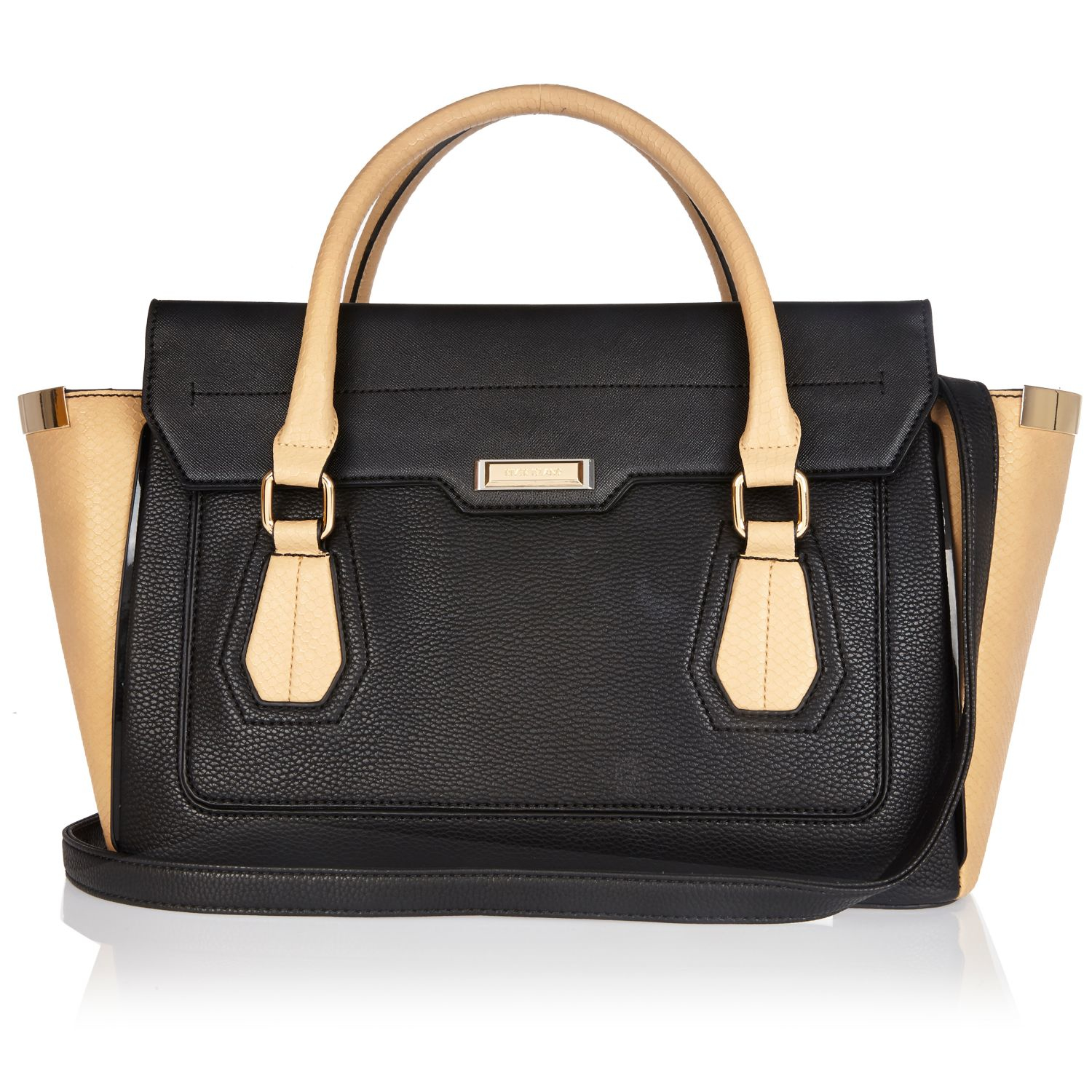 River Island Black Structured Winged Tote Handbag
