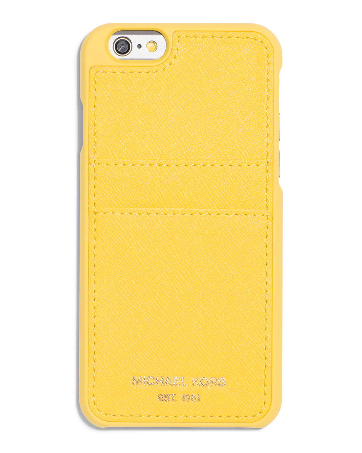 michael michael kors saffiano iphone 6 case w pocket in yellow lyst. Black Bedroom Furniture Sets. Home Design Ideas