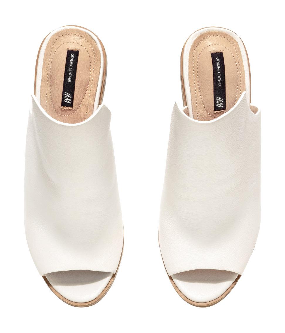H\u0026M Leather Mules in White - Lyst