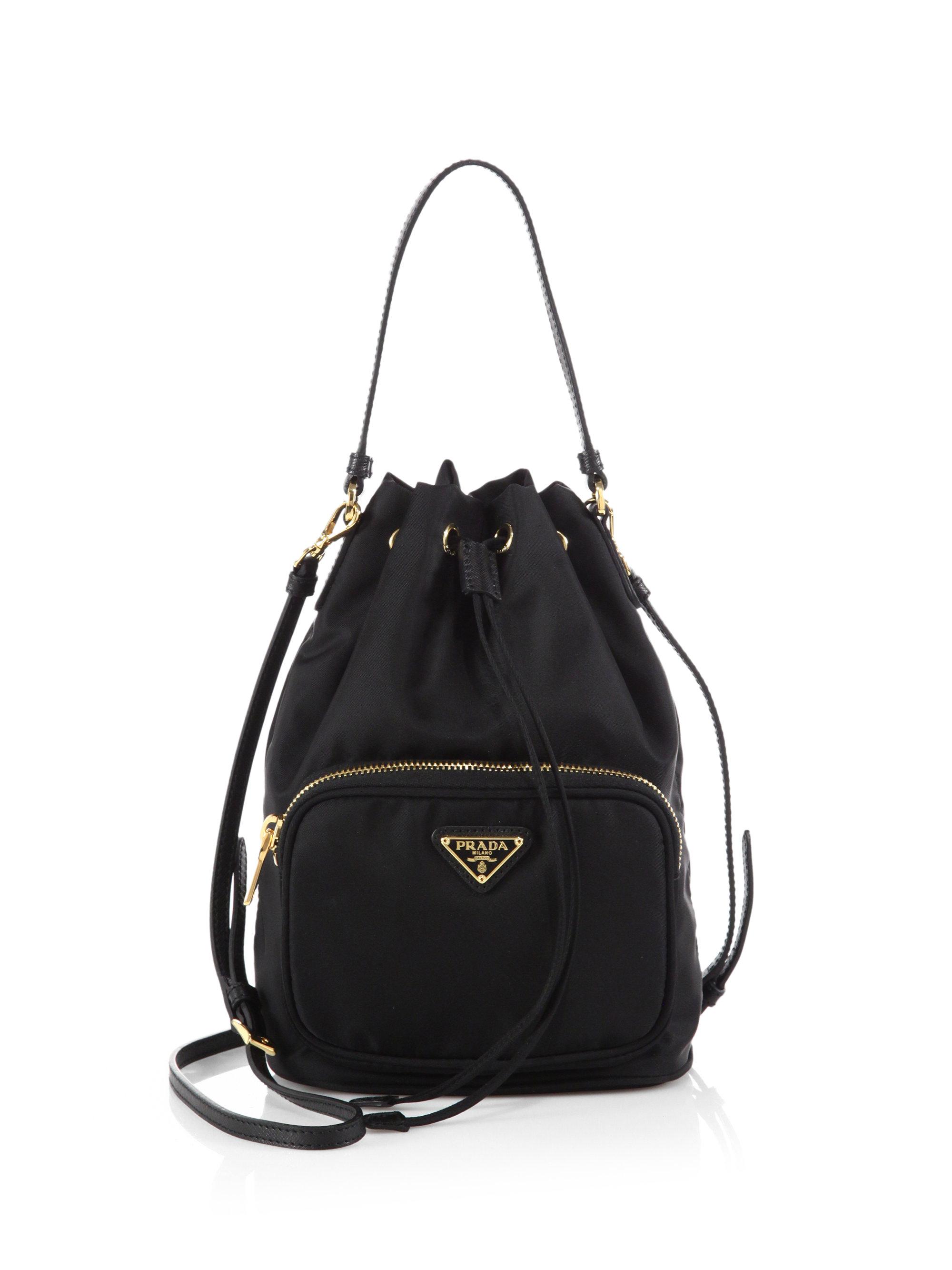 Prada Tess Drawstring Nylon Pouch Crossbody Bag In Black