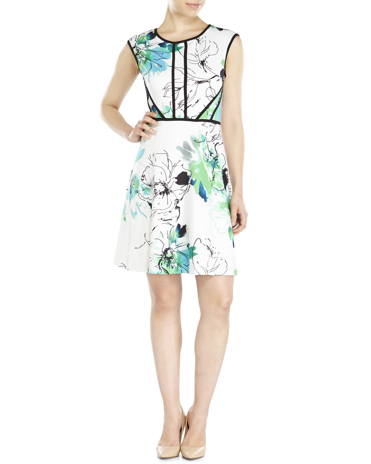 629002401b Lyst - Sandra Darren Floral Piped Scuba Dress in Green