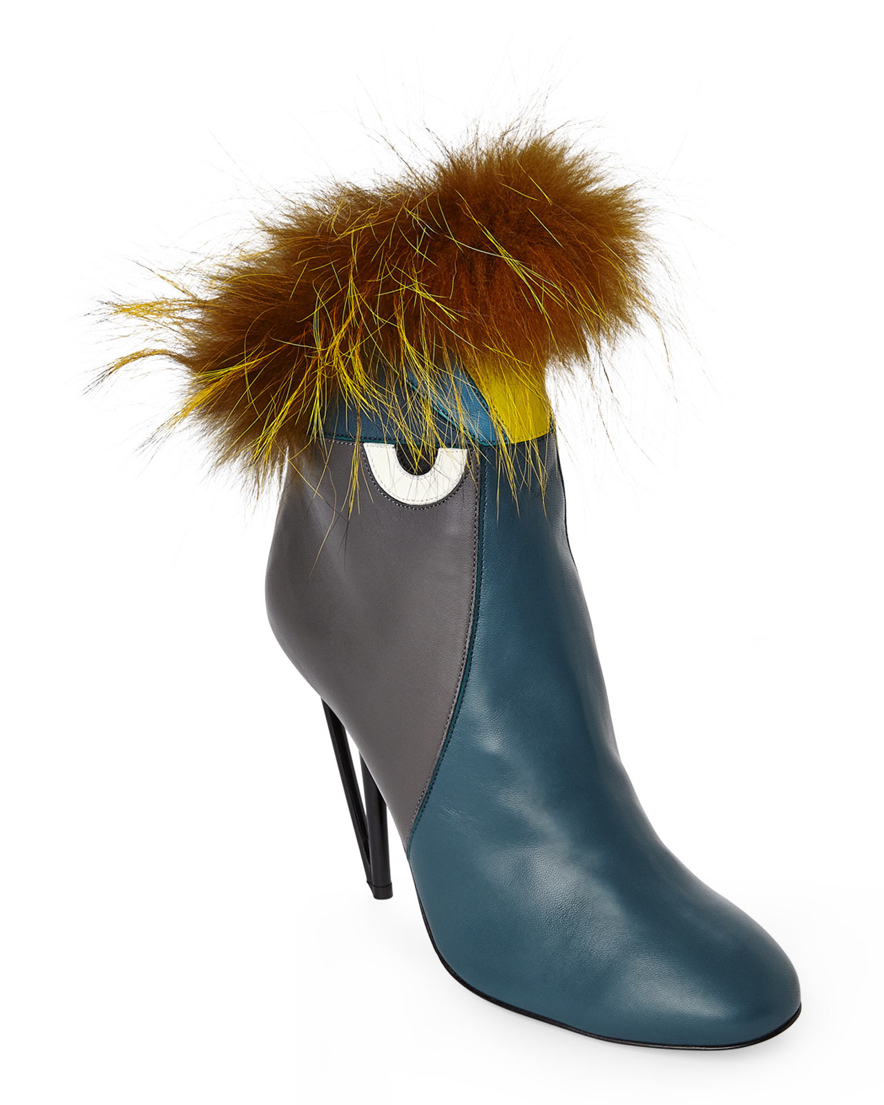 Fendi Teal Amp Grey Monster Fur Trimmed Booties In Blue Lyst