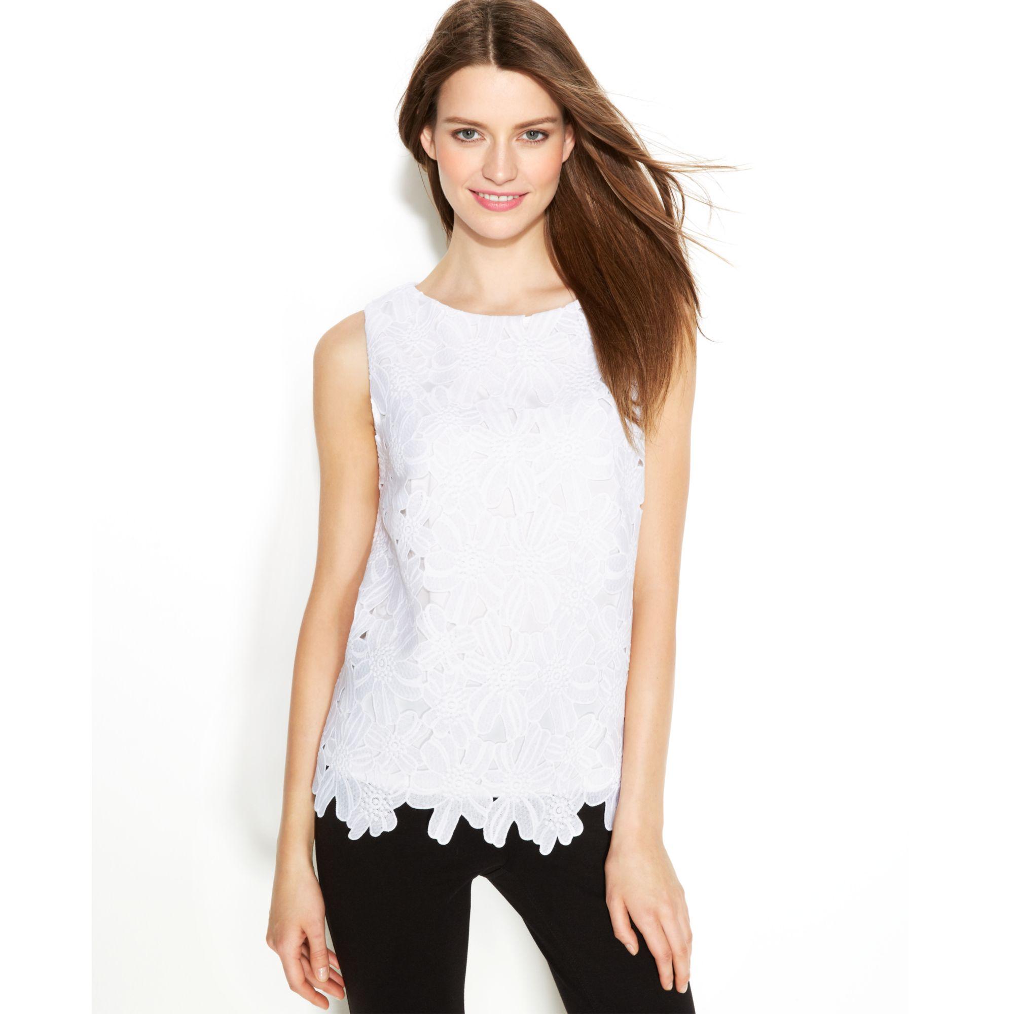 48e8fbc196e90 Lyst - Calvin Klein Sleeveless Floral Lace Top in White