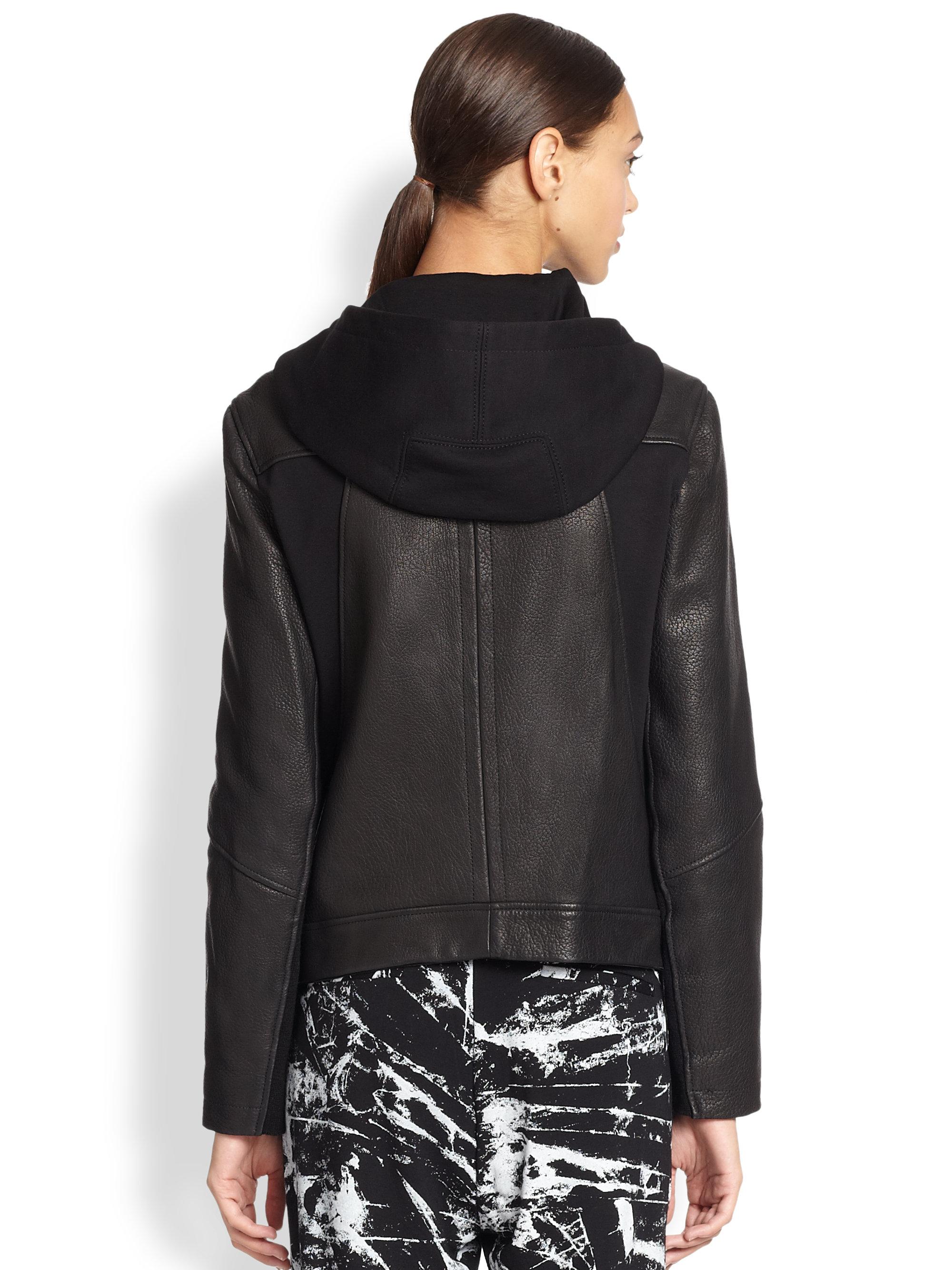 Alpinestars Leather Jacket >> Helmut lang Leather & Jersey Hooded Jacket in Black for ...