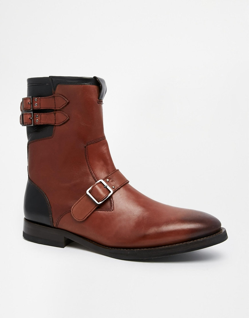 ted baker decola shearling look boots in brown for lyst