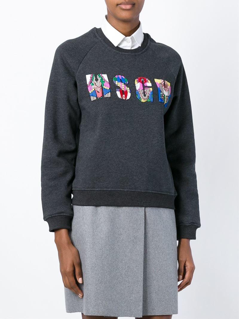 Msgm Embellished logo sweatshirt W27A3
