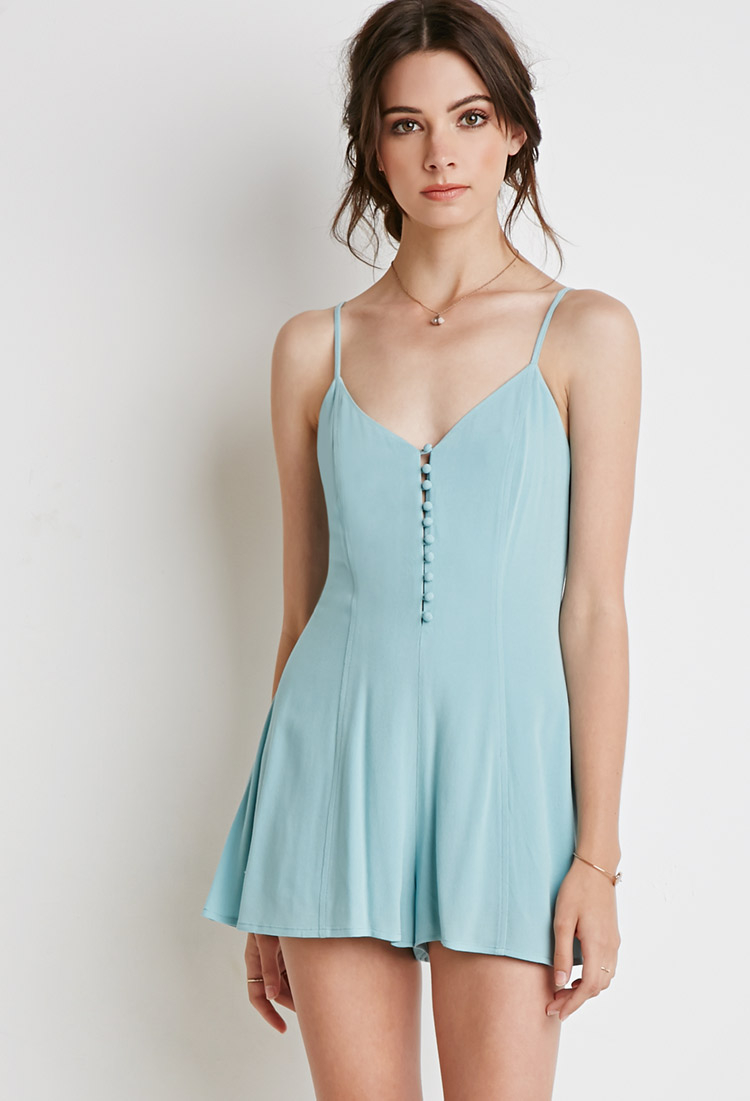 27dcbf40579 Forever 21 Buttoned-front Romper in Green - Lyst