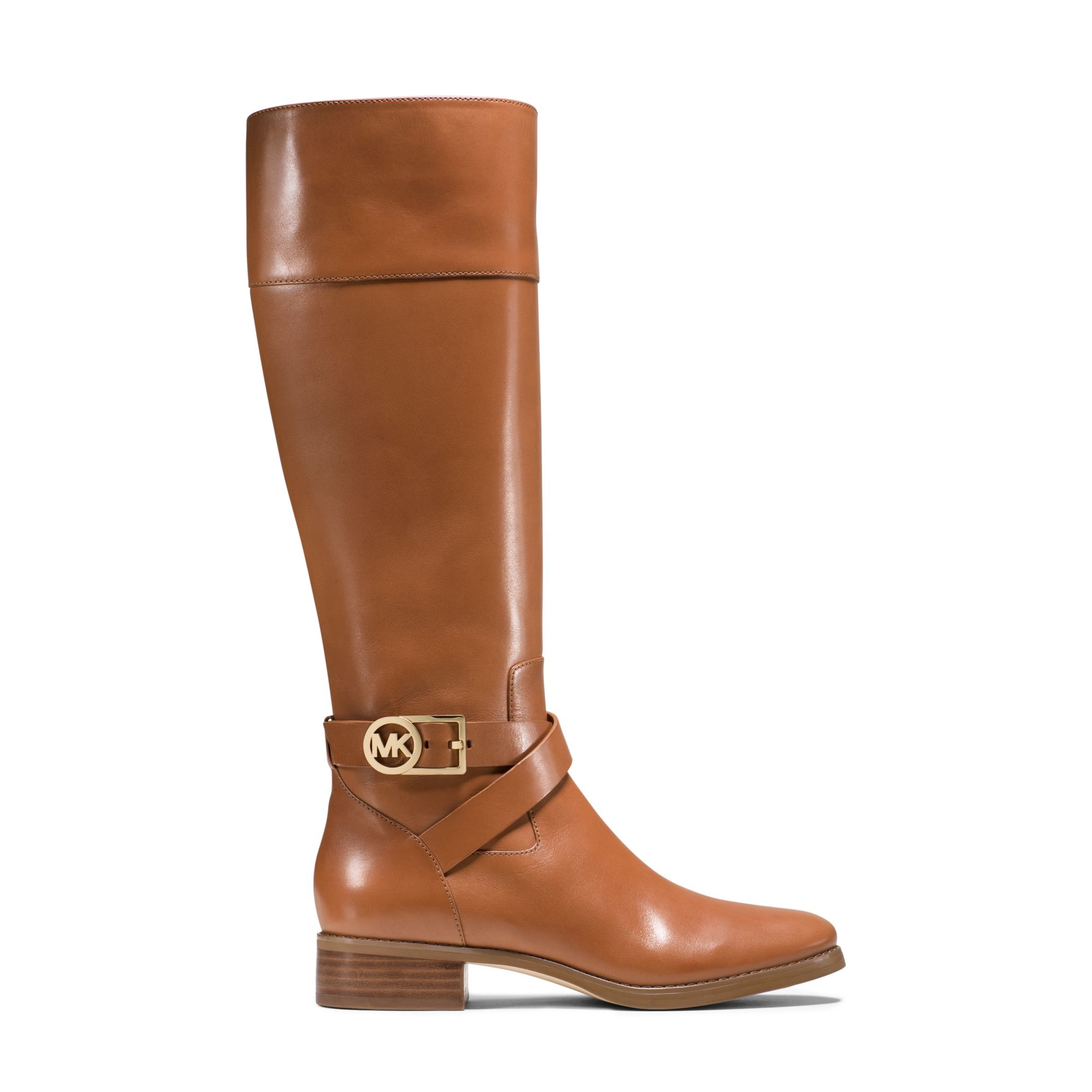 michael kors bryce leather boot in brown luggage lyst