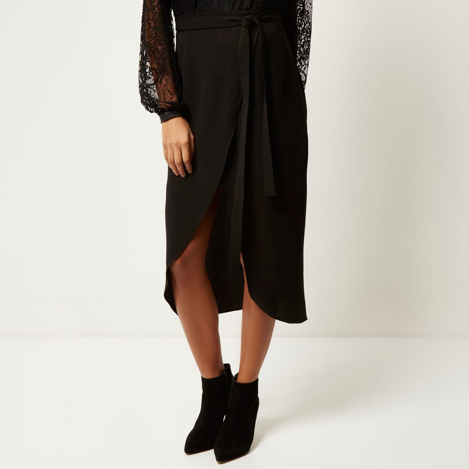 River island Black Woven Wrap Midi Skirt in Black | Lyst