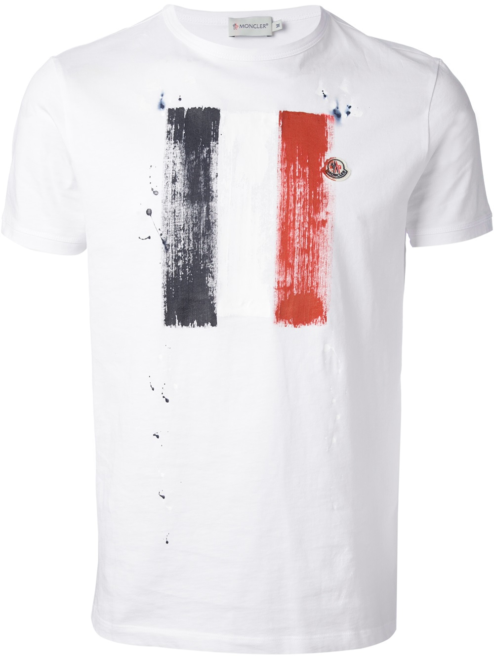 moncler flag print tshirt in white for men lyst. Black Bedroom Furniture Sets. Home Design Ideas