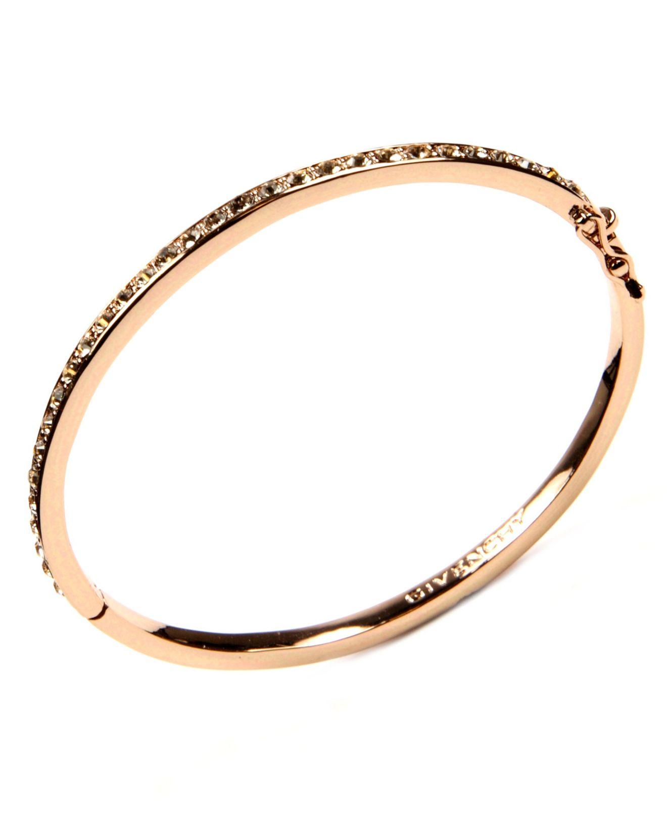 Givenchy Silk Swarovski Element Bangle In Pink Rose Gold