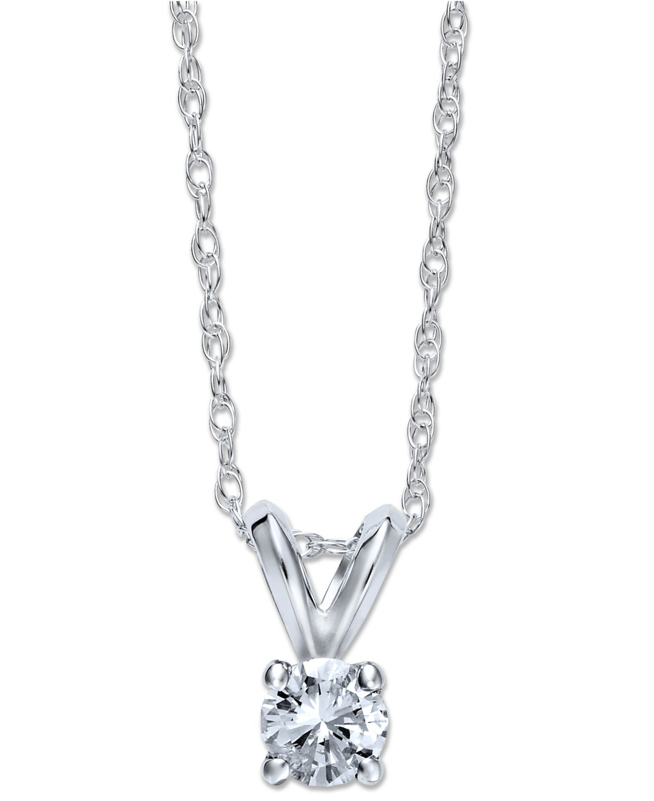 Macy 39 s round cut diamond pendant necklace in 10k white or for 10k gold jewelry