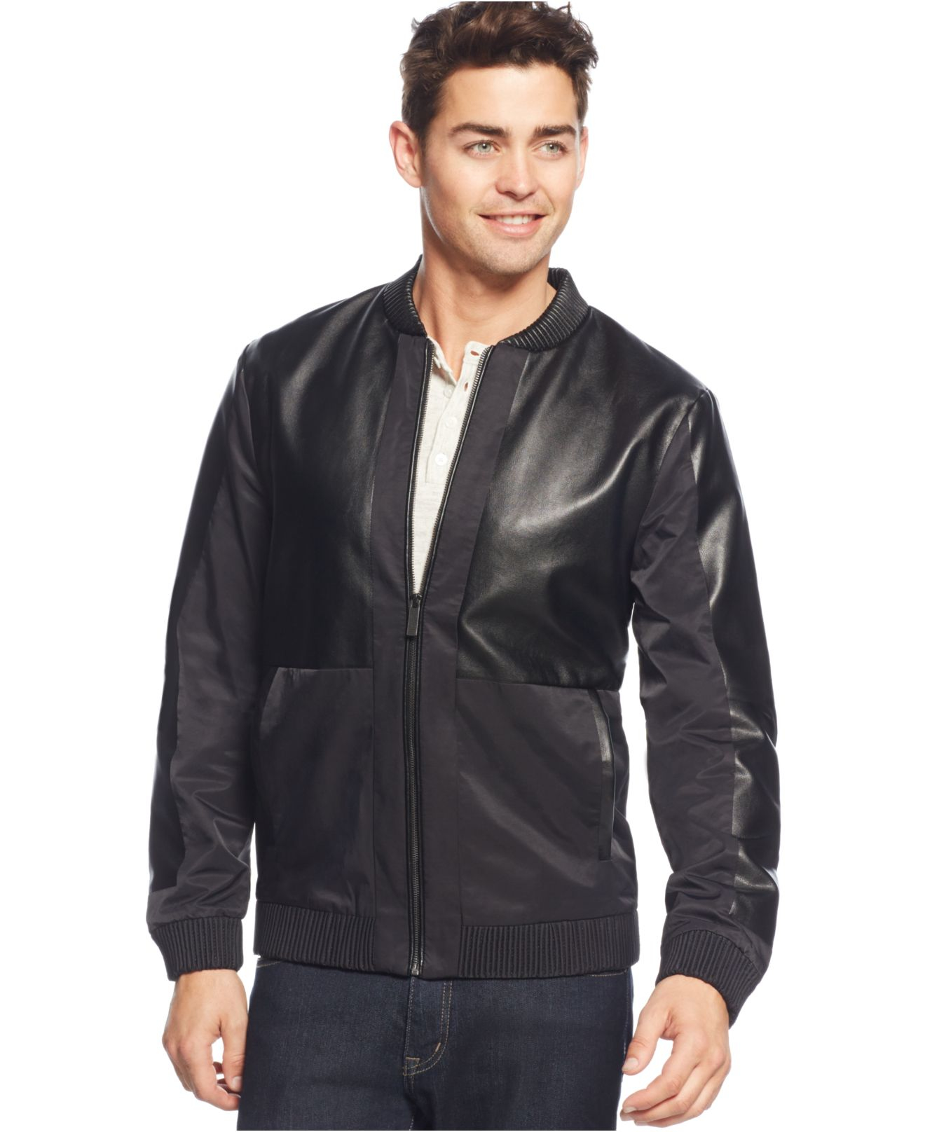 Calvin Klein Mixed Media Bomber Jacket In Black For Men Lyst