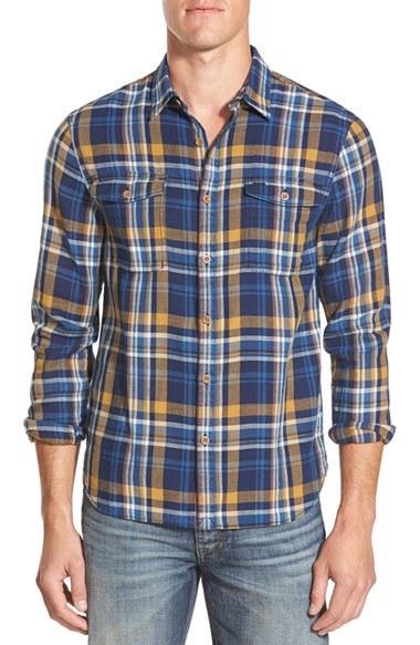 Lyst Lucky Brand Elm Plaid Twill Flannel Shirt In Blue