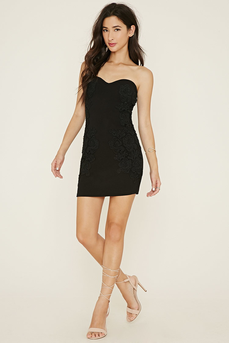 Forever 21 Strapless Crochet Bodycon Dress in Black - Lyst