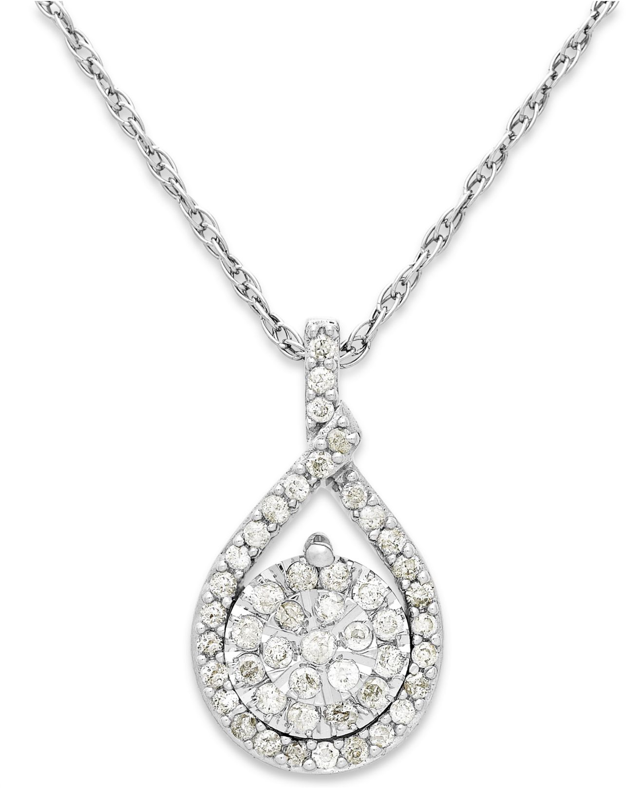 macys jewelry macy s cluster pendant necklace in sterling silver 6063