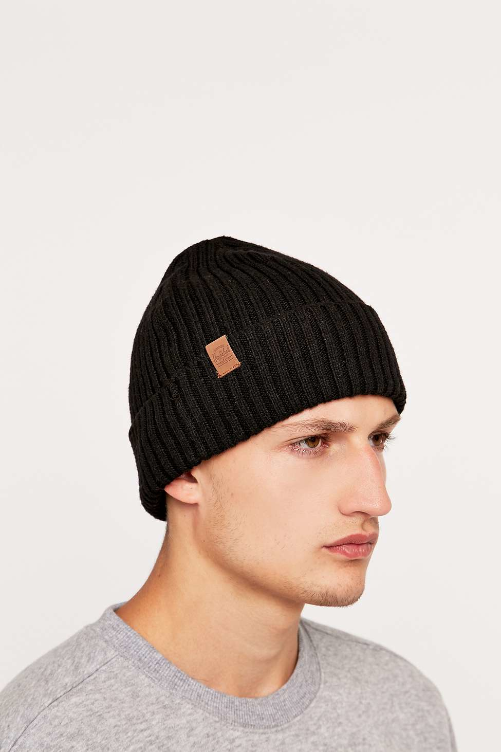 9be42481469 ... reduced herschel supply co. cast black ribbed beanie in black for men  lyst 78737 d2383