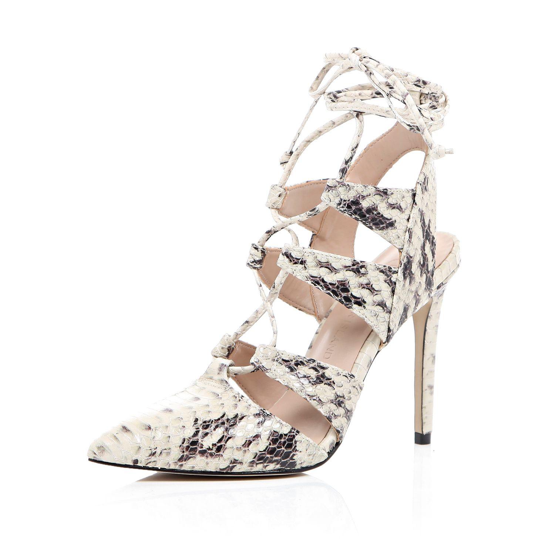 Cream Lace Up Heels