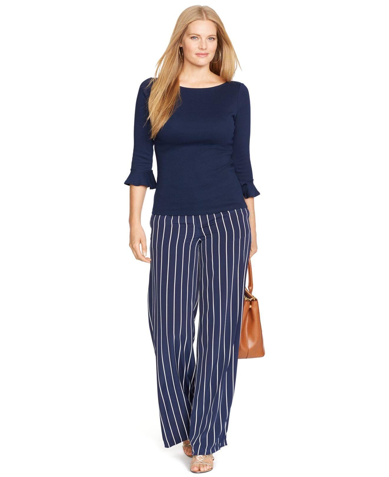 Lauren by ralph lauren Plus Size Striped Wide-Leg Pants in Blue   Lyst