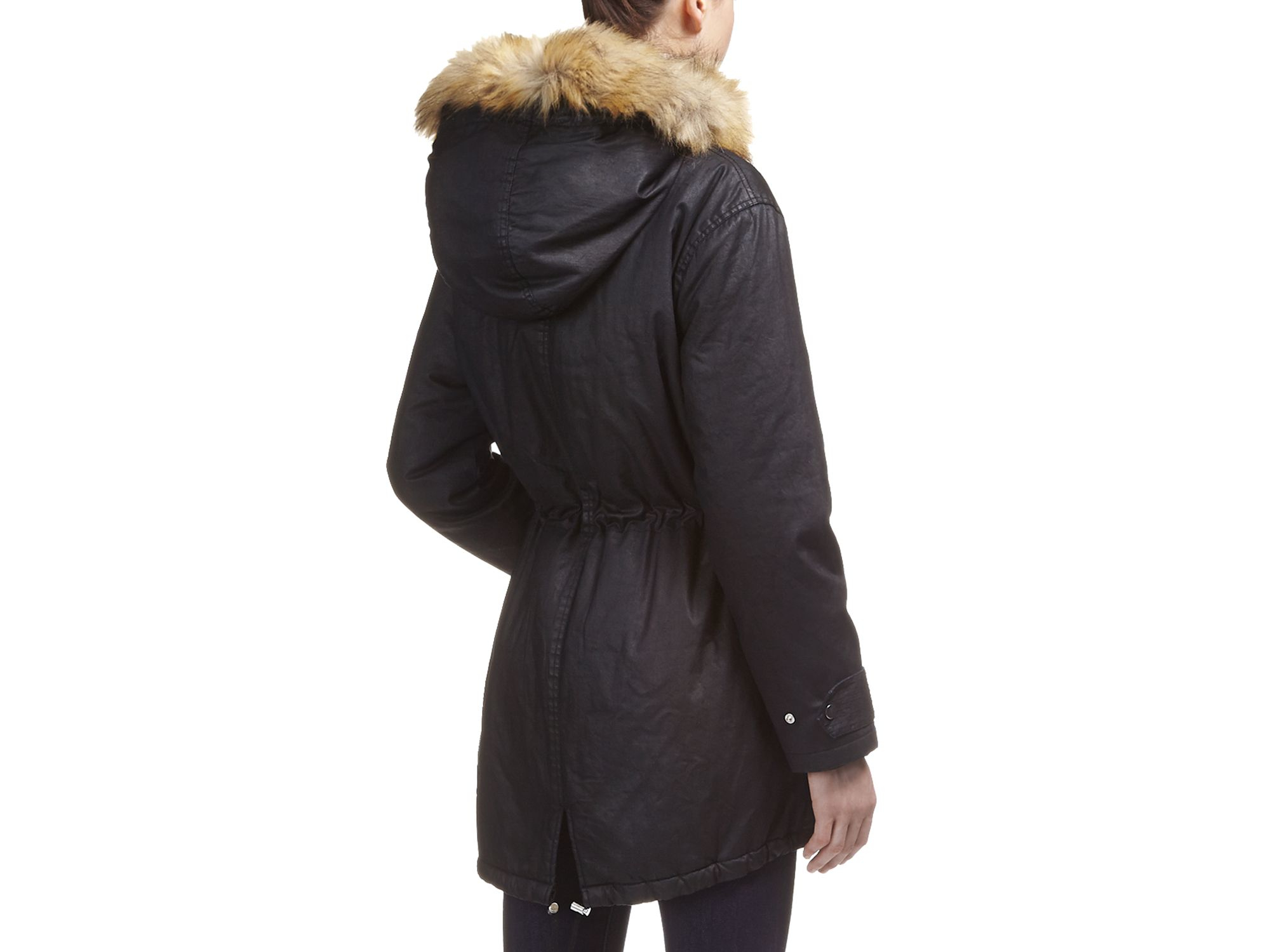 Whistles Marley Waxed Parka in Black | Lyst