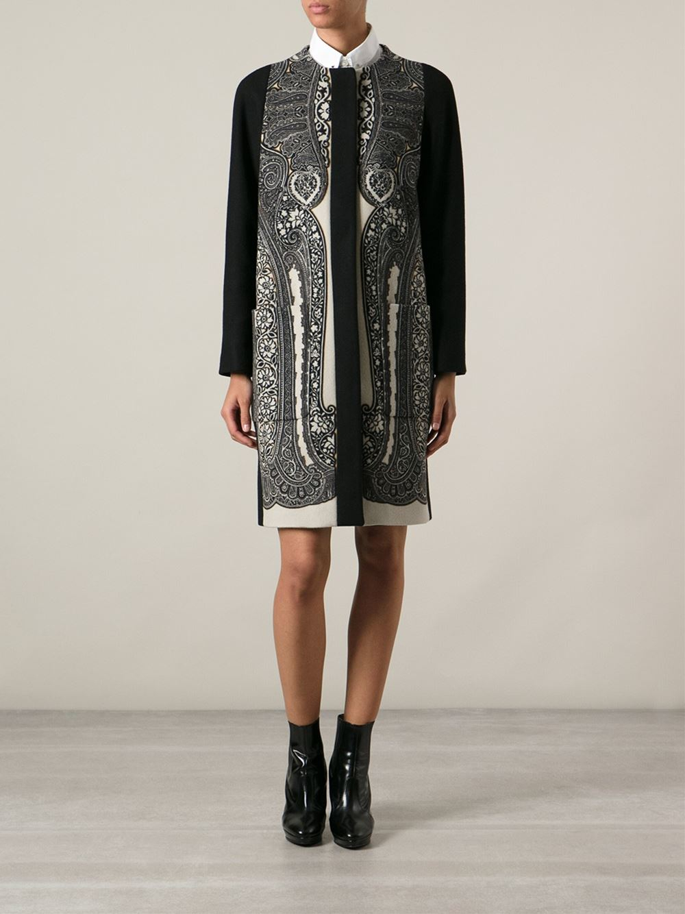 Lyst Etro Paisley Jacquard Overcoat In Black
