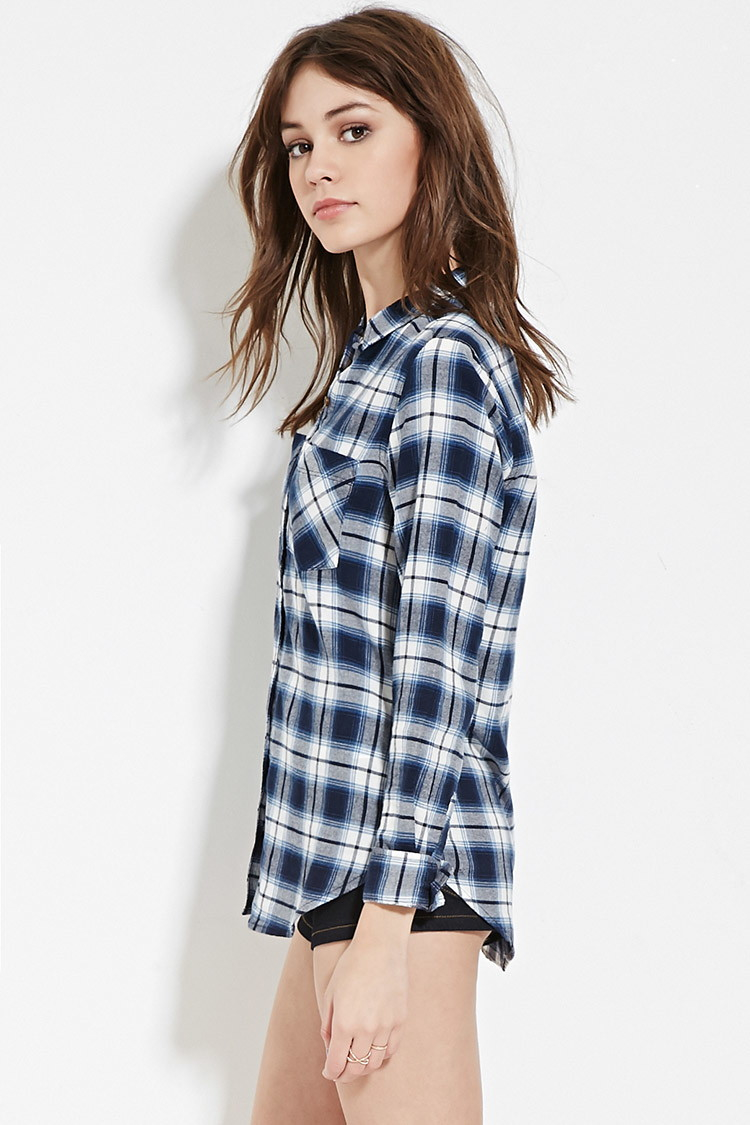 Forever 21 plaid flannel shirt in blue lyst for Flannel shirts for womens forever 21