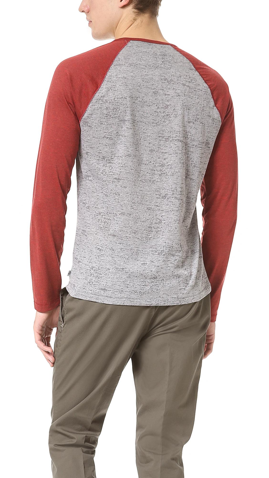 John Varvatos Long Sleeve Baseball T-Shirt in Grey Heather (Red) for Men
