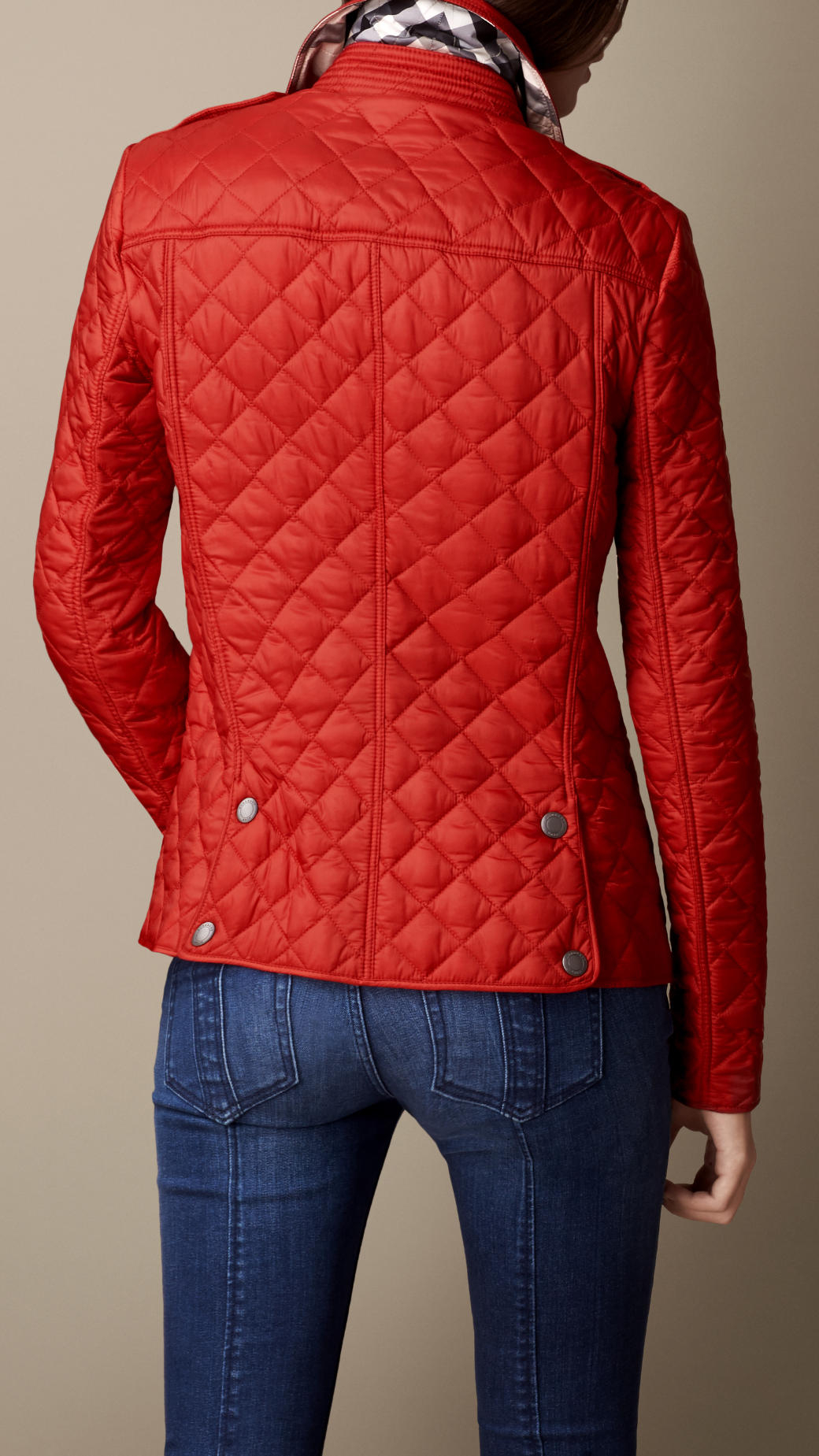 Lyst Burberry Diamond Quilted Jacket In Red