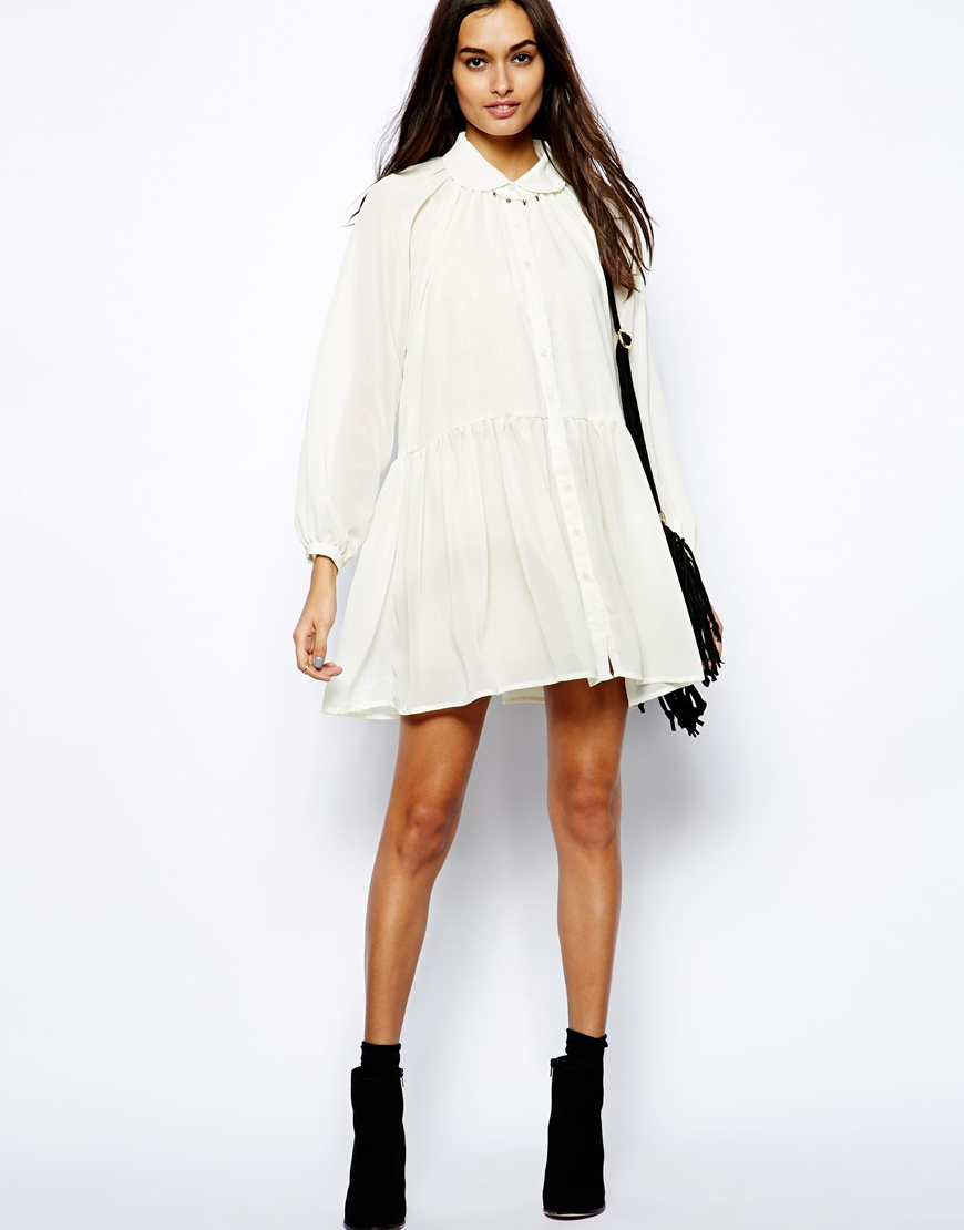 Cheap Sale For Cheap Clearance 2018 New Button Up Dress in White Glamorous Largest Supplier Cheap Online With Credit Card Free Shipping 6F3OvQEaP