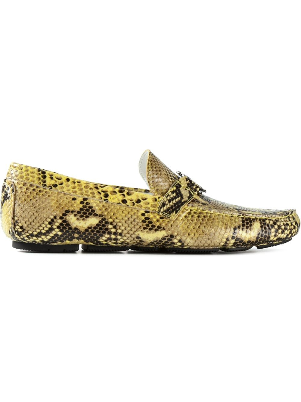 a2f5d72f4b8 Lyst - Roberto Cavalli Python Skin-Effect Driving Shoes in Yellow ...