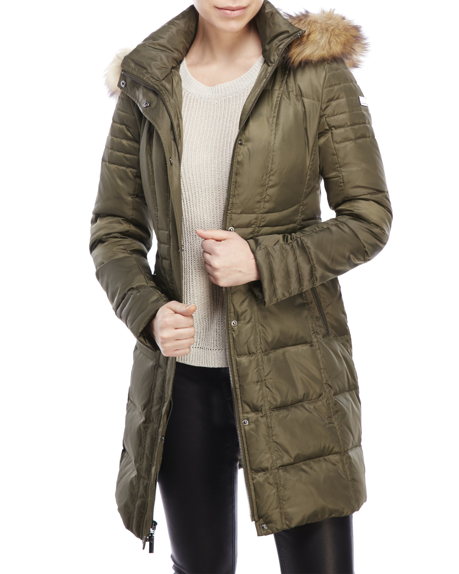 Vince Camuto Faux Fur Trim Down Coat In Army Green Lyst