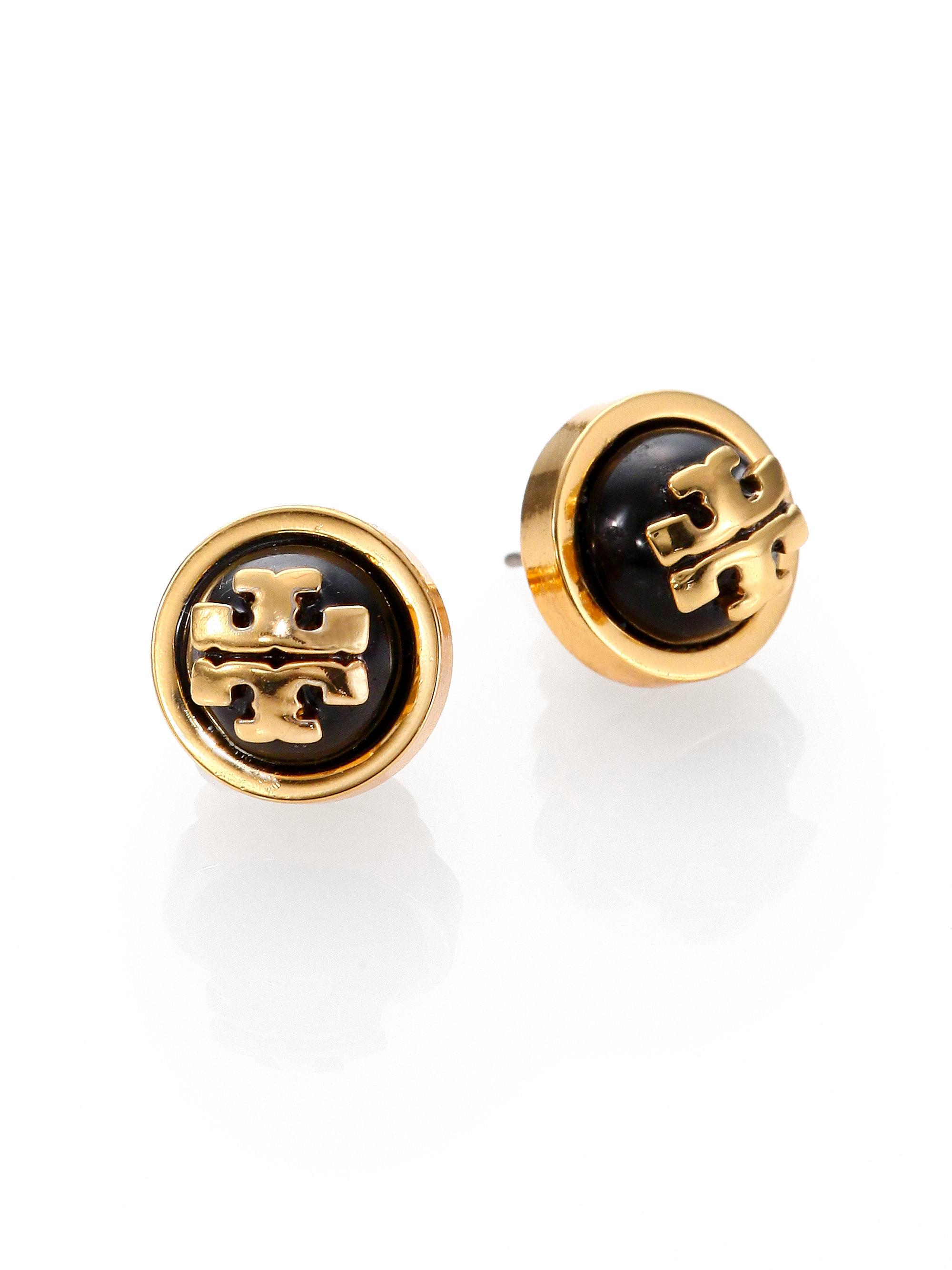 Tory Burch Melodie Cabochon Logo Stud Earrings In Black Lyst