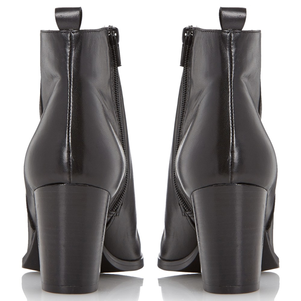 Dune Black Piper Leather Block Heeled Ankle Boots in Black