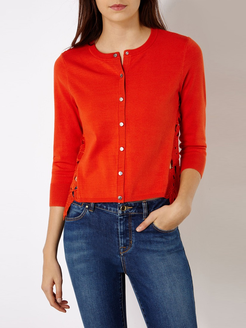 Karen Millen Floral Lace Cardigan In Orange Lyst