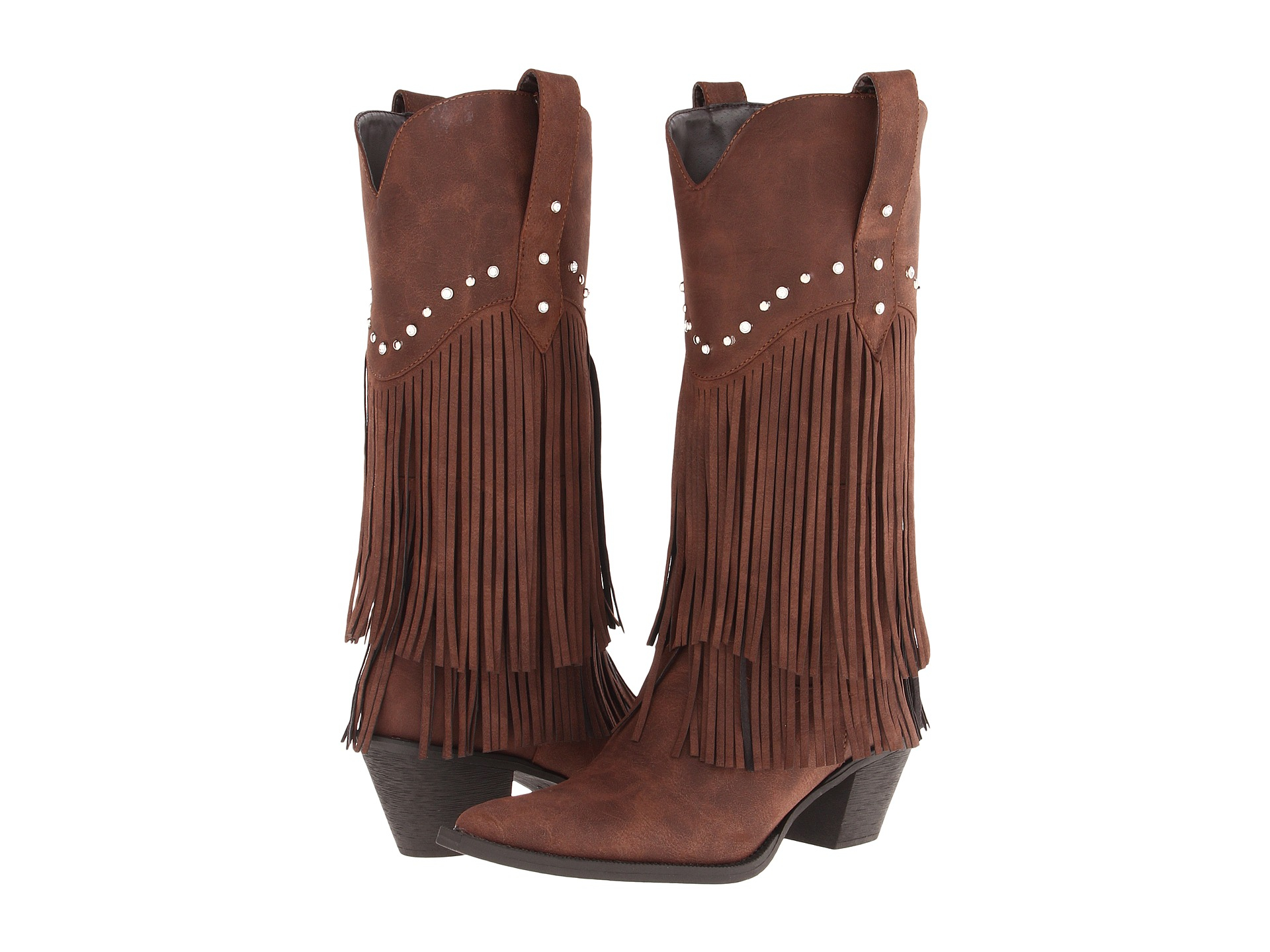 roper 12 quot stud and fringe boot in brown lyst